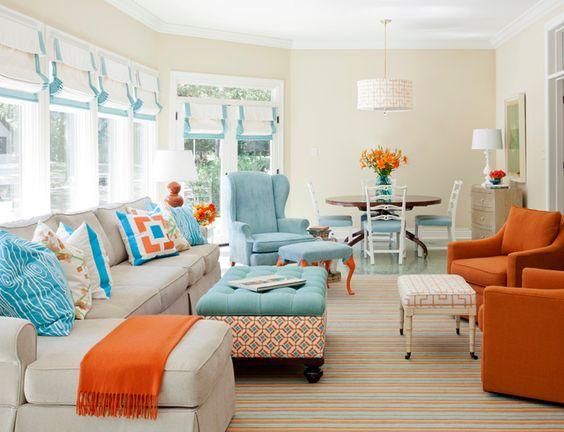 Gợi ý thiết kế nội thất phòng khách với tông màu cam nổi bật
