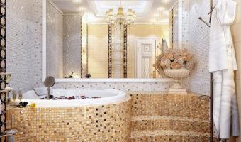 Không gian phòng tắm sang trọng hơn với gạch mosaic thủy tinh
