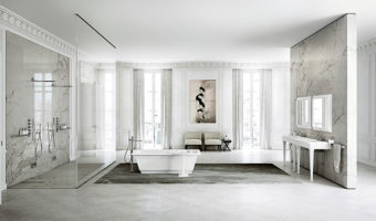 Gạch trang trí phòng tắm với tông màu trắng hiện đại