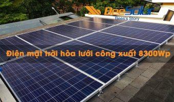Điện mặt trời hòa lưới có lưu trữ công suất 8300Wp cho hộ gia đình