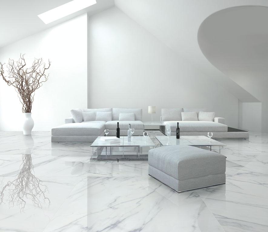 Không gian phòng khách với đá marble