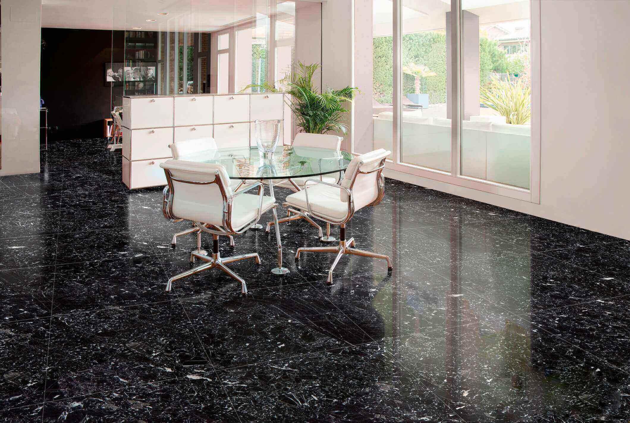 Phòng khách lát sàn đá marble đen Đá marble đen Negro Canfranc