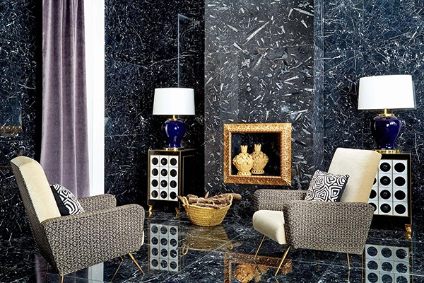 Không gian nghệ thuật đầy sang trọng với đá cẩm thạch Devonian Black lát tường