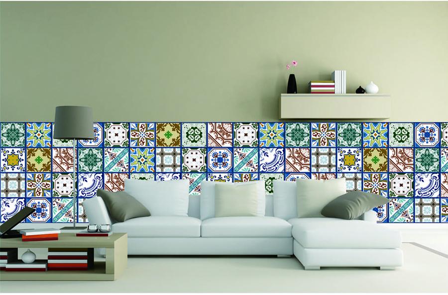 Gạch bông ốp tường phòng khách