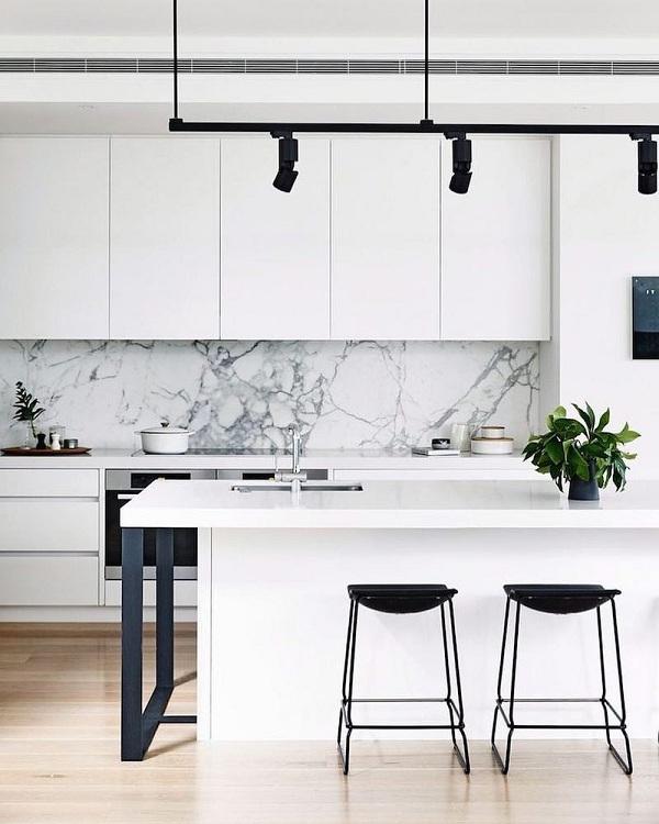 Những mẫu đá marble trắng ốp bếp hoàn hảo 1