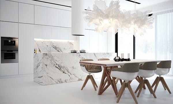 Những mẫu đá marble trắng ốp bếp hoàn hảo 15
