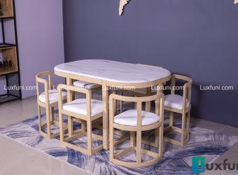 Những bộ bàn ăn gỗ 6 ghế đẹp lung linh nổi bật nhà bếp của bạn