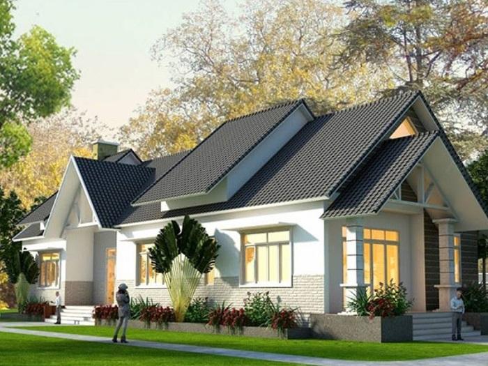 Những mẫu biệt thự nhà vườn 1 tầng mái Thái đẹp ná thở-1