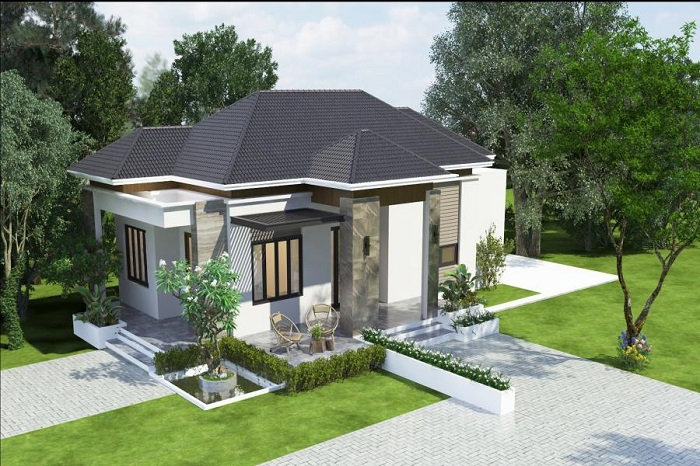 Những mẫu biệt thự nhà vườn 1 tầng mái Thái đẹp ná thở-9