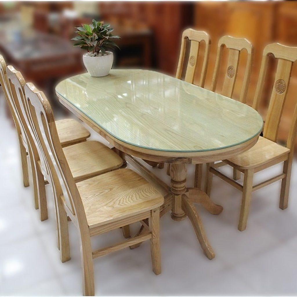 Bàn ăn gỗ sồi mỹ 4 ghế trắng
