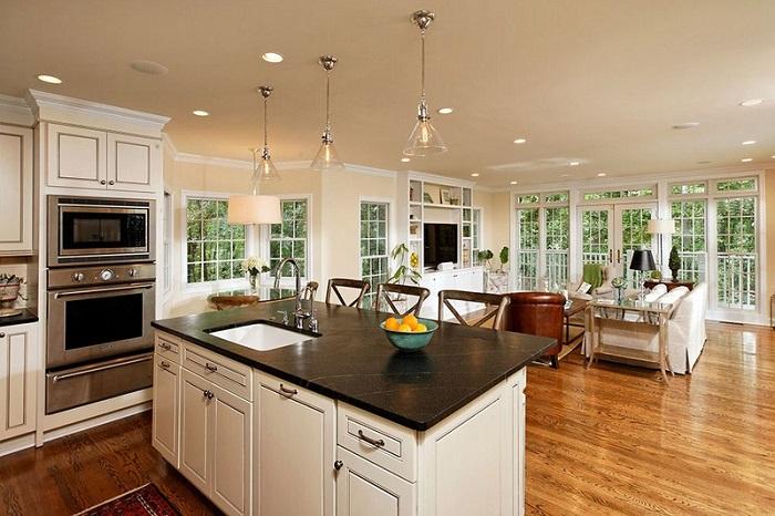 Phòng bếp tích hợp phòng khách