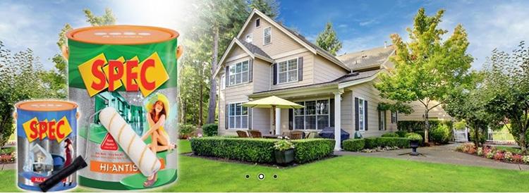 Sơn Spec đa dạng về sản phẩm, phong phú về màu sắc với 880 màu, đặc tính nổi bật là chống rêu mốc, chống bám bẩn và mọi vết dơ