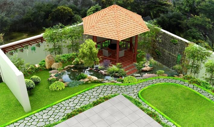 Xây chòi ở góc vườn để nghỉ ngơi và tạo điểm nhấn cho sân vườn