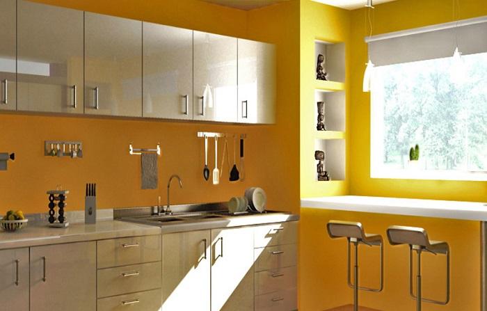 Phòng bếp sơn tường vàng