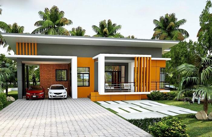 Phối cam - ghi - trắng - những màu sơn nhà đẹp bên ngoài