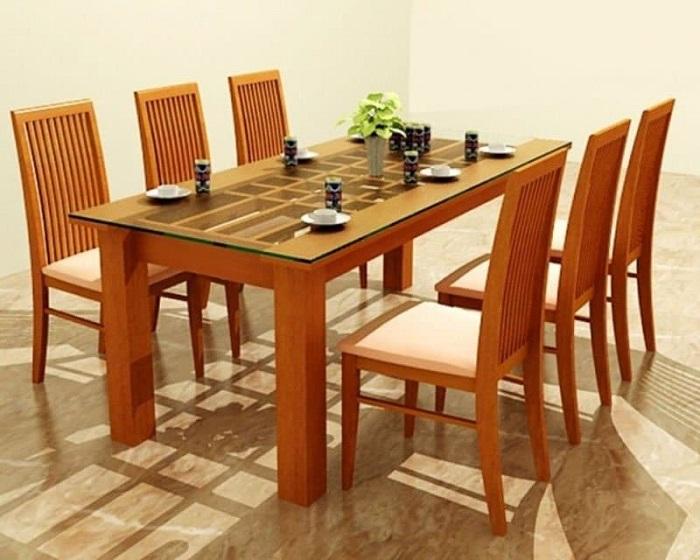 Mẫu bàn ăn đẹp bằng gỗ tự nhiên kết hợp kính