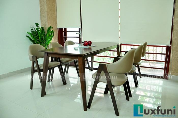 Bàn ăn 6 ghế gỗ cao su