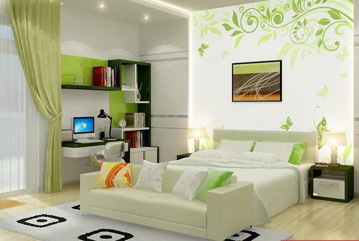 Giấy dán tường màu xanh là cách tiết kiệm chi phí để giúp không gian thêm đẹp