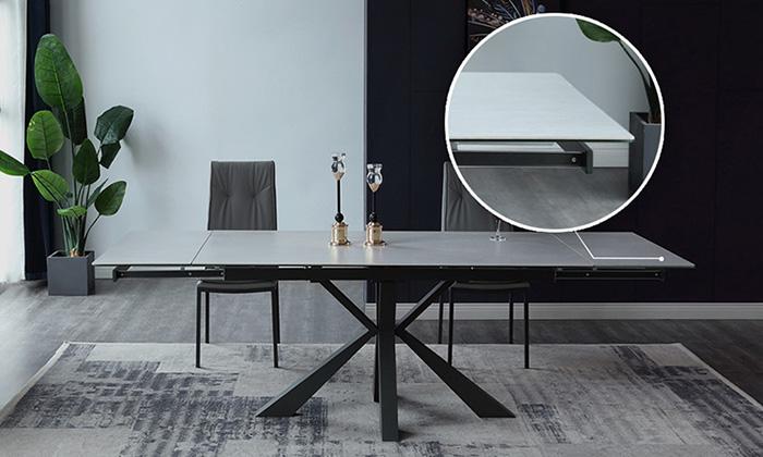 Mặt bàn bộ bàn ăn 6 ghế hiện đại làm từ kính cường lực phủ gốm Ceramic