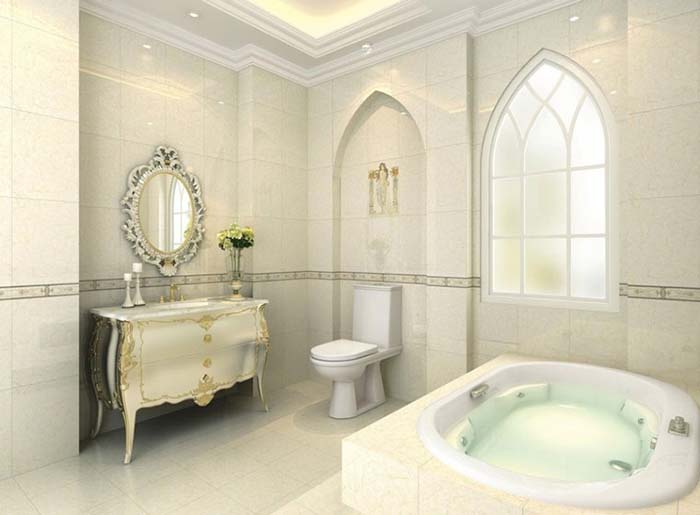Gạch ốp nhà tắm theo phong cách cổ điển trầm ấm