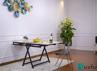 Review bộ bàn ăn gấp gọn thành kệ trang trí thông minh B2475